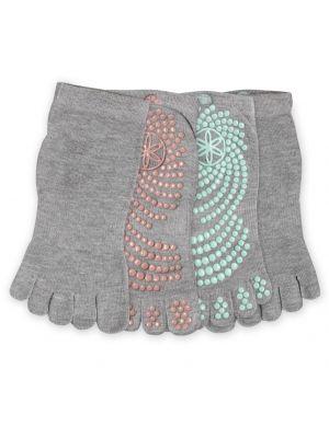 Gaiam Grippy Plaster/Mint 2-pack Yoga Socks